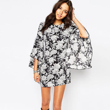 Floral Butterfly Sleeves Asymmetrical Chiffon Dress