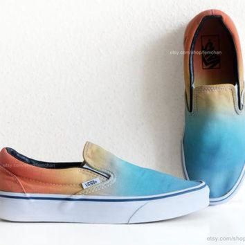 CREYONS Vintage Vans slip-on skate shoes, upcycled with a sky blue to sunny orange ombre dip d