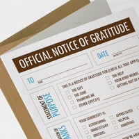 Funny Thank You Card Notice of Gratitude COTK007 by NeatThings