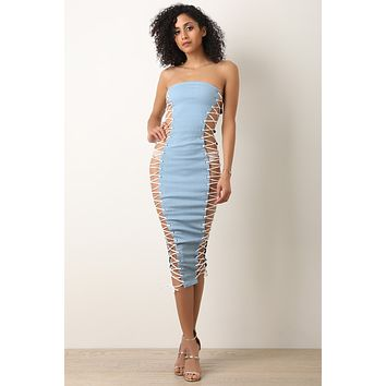 Denim Side Corset Open Lace-Up Tube Dress