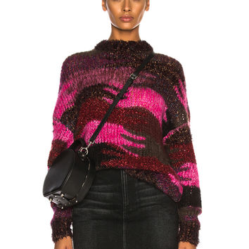 Saint Laurent Camouflage Jacquard Sweater in Fuchsia | FWRD