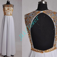 Gold beaded Prom Dresses,White Chiffon Party Dresses,Backless Evening Dresses,Formal Party Dresses,Custom Made Dresses