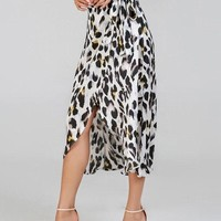 Side Knot Leopard Print Midi Skirt - Grey