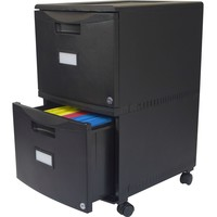 Black 2-Drawer Locking File Cabinet with Casters/Wheels