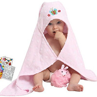 """Butterfly Soft Hooded Bath Towel 23x31"""" Age 0-2T with Mini Animal Loufa & Coloring Book"""