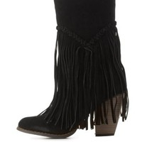Black Fringed Stacked Heel Boots by Charlotte Russe