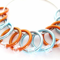 Large Knitting stitch marker | Lace stitch marker | Ring stitchmarkers | Gift for Knitters | orange, blue rings; clear beads | #0525