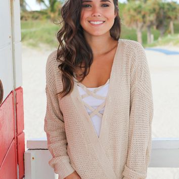 Taupe Knit Criss Cross Top