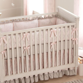 Girl Baby Crib Bedding: Paris Script 3-Piece Crib Bedding Set by Carousel Designs