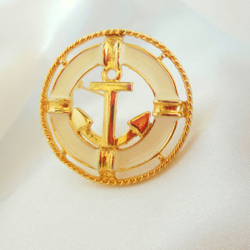 Vintage Brooch By  MJ LENT  Nautical Gold and White Enamel Anchor A Signed Piece