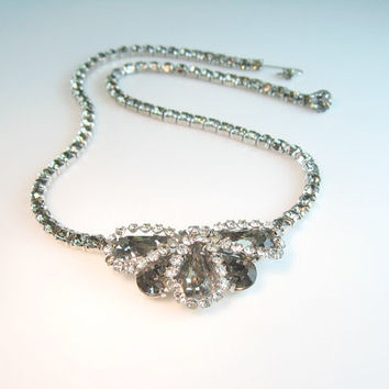 Weiss Choker Necklace Rhinestone Black Diamond Vintage 1960s Jewelry Smoky Gray Clear Austrian Crystal