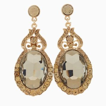 Olive Jeweled Gold Accent Drop Earring