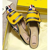 FENDI Newest Fashion Women Casual Pointed Half Slipper Sandals Mules Shoes Yellow