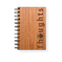 Thoughts Mahogany Wood Notebook - Laser Engraved Wood Journal