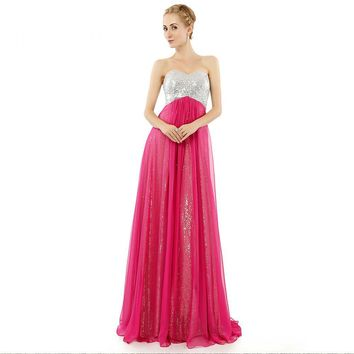 Graceful Chiffon Multi layer A Line Long Prom Dresses Sweetheart Sleeveless Open Back Sequins Prom Gowns