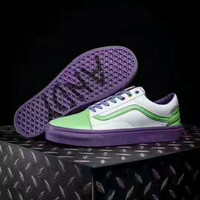 Vans  Casual Green Stripe Shoes Purple Soles Men And Women Cloth Shoes G-CSXY