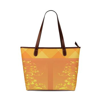 Orange Floral Shoulder Tote
