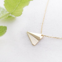 Paper Airplane necklace in gold, Origami airplane necklace