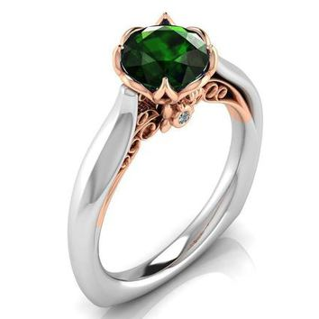 2 Tone Emerald Engagement Ring Milgrain Solitaire Ring 18K Solid Gold Contour Filigree Vintage Style