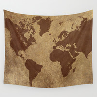 Classic World Map Wall Tapestry, Wall Hanging, World Map Decor, Neutral Home Decor, World Map Art, Map of the World, Leather Look