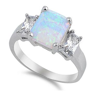 Cushion Cut Light Blue Lab Opal with Clear CZ Stone Accents Set in Sterling Silver Band