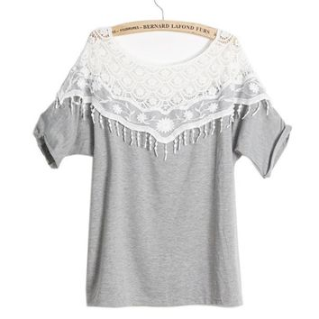 Crochet Flower Off Shoulder T-shirt