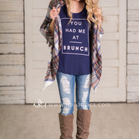 You Had Me At Brunch Graphic Tank Top (Navy)