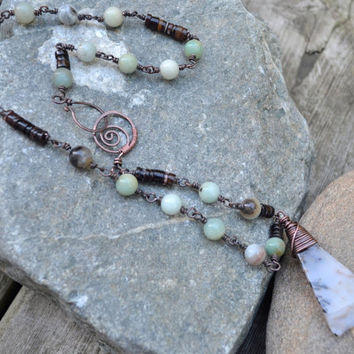 Amazonite Rustic Necklace, Moss Agate Pendant, Oxidized Copper Necklace, Gypsy Jewellery, Gemstone Jewelry, Bohemian, Healing Stone