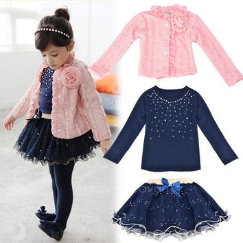 Good Quality!! 3Pcs/Set Baby Kids Children Girls Toddler Cute Flower Clothing Clothes Coat +T-shirt+ Skirt Tutu Dress Set Outfit   AP = 1652971908
