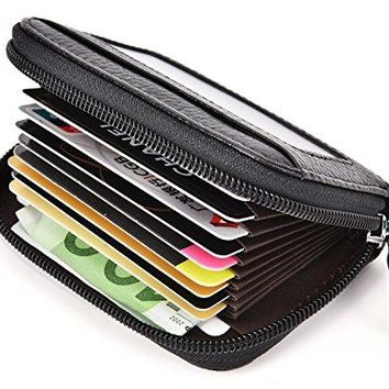 DEEZOMO RFID Blocking Genuine Leather Credit Card Case Wallet with ID Window