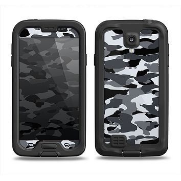 The Traditional Black & White Camo Samsung Galaxy S4 LifeProof Nuud Case Skin Set