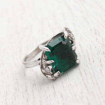 Vintage Emerald Green Glass Ring - Statement Adjustable Silver Tone Signed Sarah Coventry Cocktail Jewelry / Emerald Cut