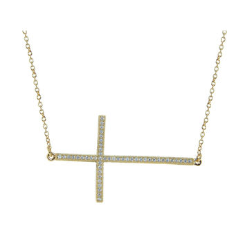 Gold Plated Silver Large Sideways CZ Studded Cross Necklace, 16""