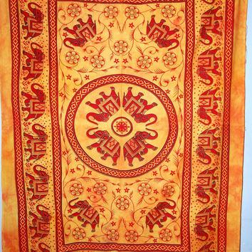 Hippy elephant wall hanging,Elephant Mandala Tapestry,mandala wall hanging,Indian Mandala Tapestry Cotton Mandala BedCover,Bohemian tapestry