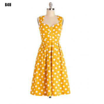 Yellow 50s 60s Elegant Vintage Dress Classic Audrey Hepburn Retro Swing Pin-up Party Cute Flare Dresses Vestidos Femininos Dot