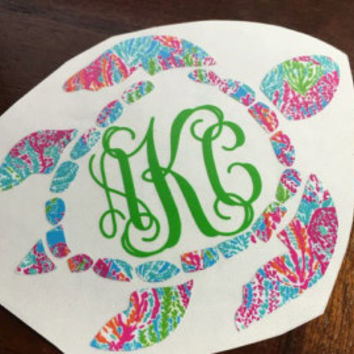 Lilly pulitzer sea turtle monogram decal turtle monogram cir car