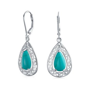 Turquoise Leverback Filigree Dangle Earrings 925 Sterling Silver