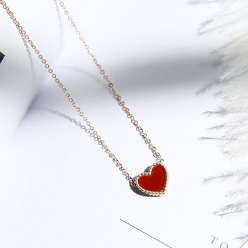 YUN RUO Rose Gold Color Vintage Double-sided Red Black Heart Pendant Necklace Choker Chain 316L Stainless Steel Woman Jewelry