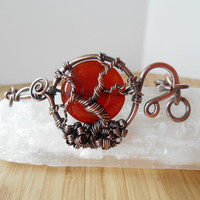 Red Carnelian Tree of Life Cuff Bracelet Wire Wrapped in Oxidized Copper