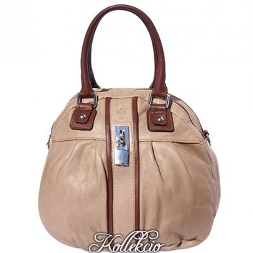 Italian Light Taupe Genuine Leather Handbag with Long Adjustable Strap