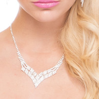 V-neck Clear Crystal Necklace & Earrings Set  - Clear