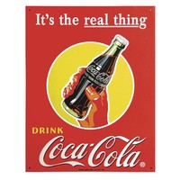 TIN Sign Coke Real Thing - Bottle , 13x16