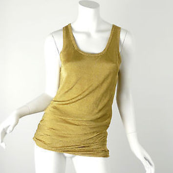 MICHAEL KORS COLLECTION Gold Metallic Sleeveless Tank Top Size S