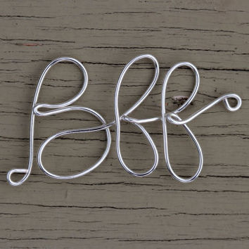 BFF Bracelet : Original Silver Handwritten Cursive Wire BFF Bracelet with Cotton Cord, Adjustable Closure, Crimp Beads