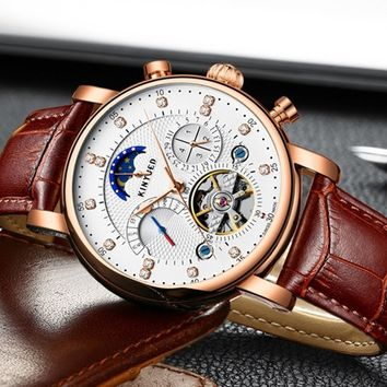 New men's mechanical automatic Fashion Leather Watchband Mens Watch hollow mechanical accuratetiming business watch gift watches