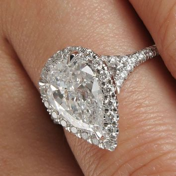 CERTIFIED 1.7 CT PEAR SHAPE CUT H/SI2 ENHANCED DIAMOND HALO ENGAGEMENT RING 14K GOLD
