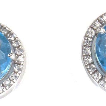 "Suzanne Kalan ""The Pave Collection"" 14k Swiss Blue Topaz Post Earring"