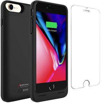 ICIK4S2 iPhone 8 Battery Case with Qi Wireless Charging, Alpatronix BX190 (4.7-inch) 3200mAh Slim Rechargeable Extended Protective Portable Charger Case for iPhone 8 [Apple Certified Chip; iOS 11+] - Black
