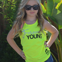 Forever Young - Girl's Clothing - Forever Young Tank - Glitter - Ruffles With Love - RWL Kids