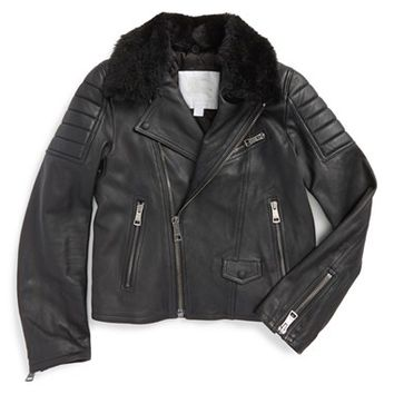 Boy's Burberry 'Gransford' Bomber Jacket with Detachable Genuine Shearling Collar,